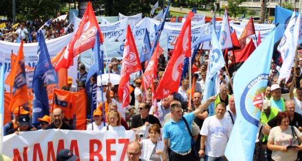 Protest sindikata protiv Zakona o radu