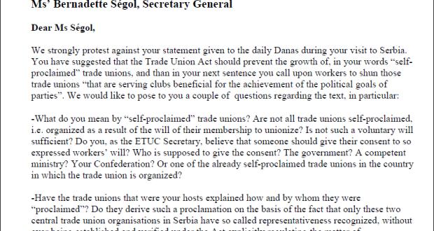 Sloga uputila oštar protest Evropskoj konfederaciji sindikata