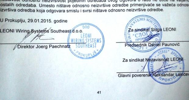 Potpisan kolektivni ugovor u Leoniju