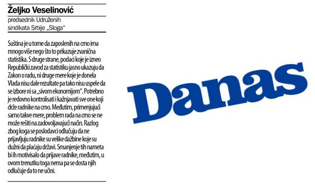 PITANjE I ODGOVOR: Kako komentarišete rast zaposlenosti na crno krajem 2014. u Srbiji?