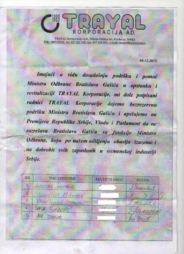 Sramno prikupljanje potpisa za Gašića
