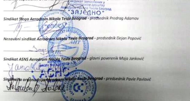 Zajedničko saopštenje pet sindikata Aerodroma Nikola Tesla