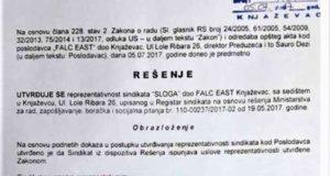 """Синдикат """"Слога – Фалк Ист"""" из Књажевца репрезентативан"""