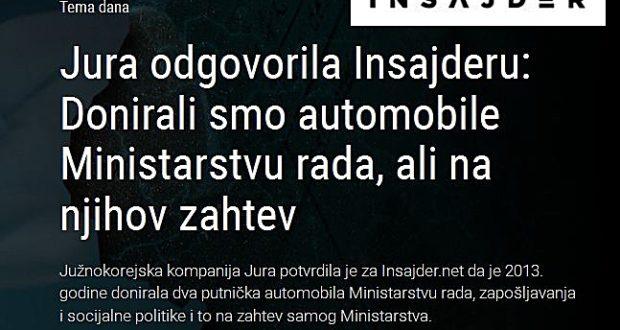 Jura priznala da je Ministarstvu rada donirala automobile