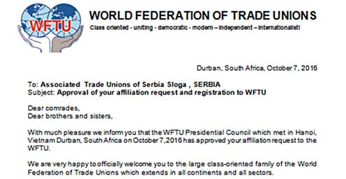 Sloga od sada punopravni član WFTU