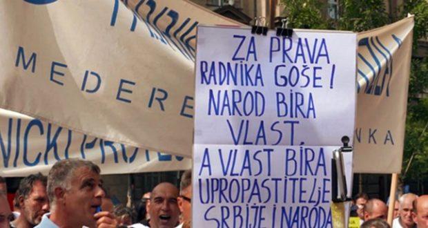 Radnici Goše održali protest ispred Vlade, Sloga podržala
