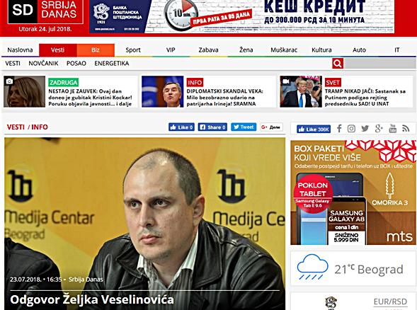 """Odgovor Željka Veselinovića na portalu """"Srbija danas"""""""
