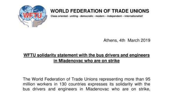 Pismo solidarnosti Svetske federacije sindikata radnicima Laste